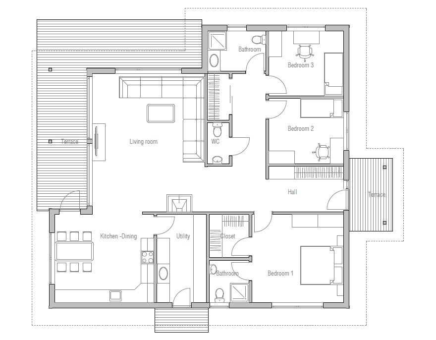 Affordable home plans affordable home plan ch121 for Modern three bedroom house plans