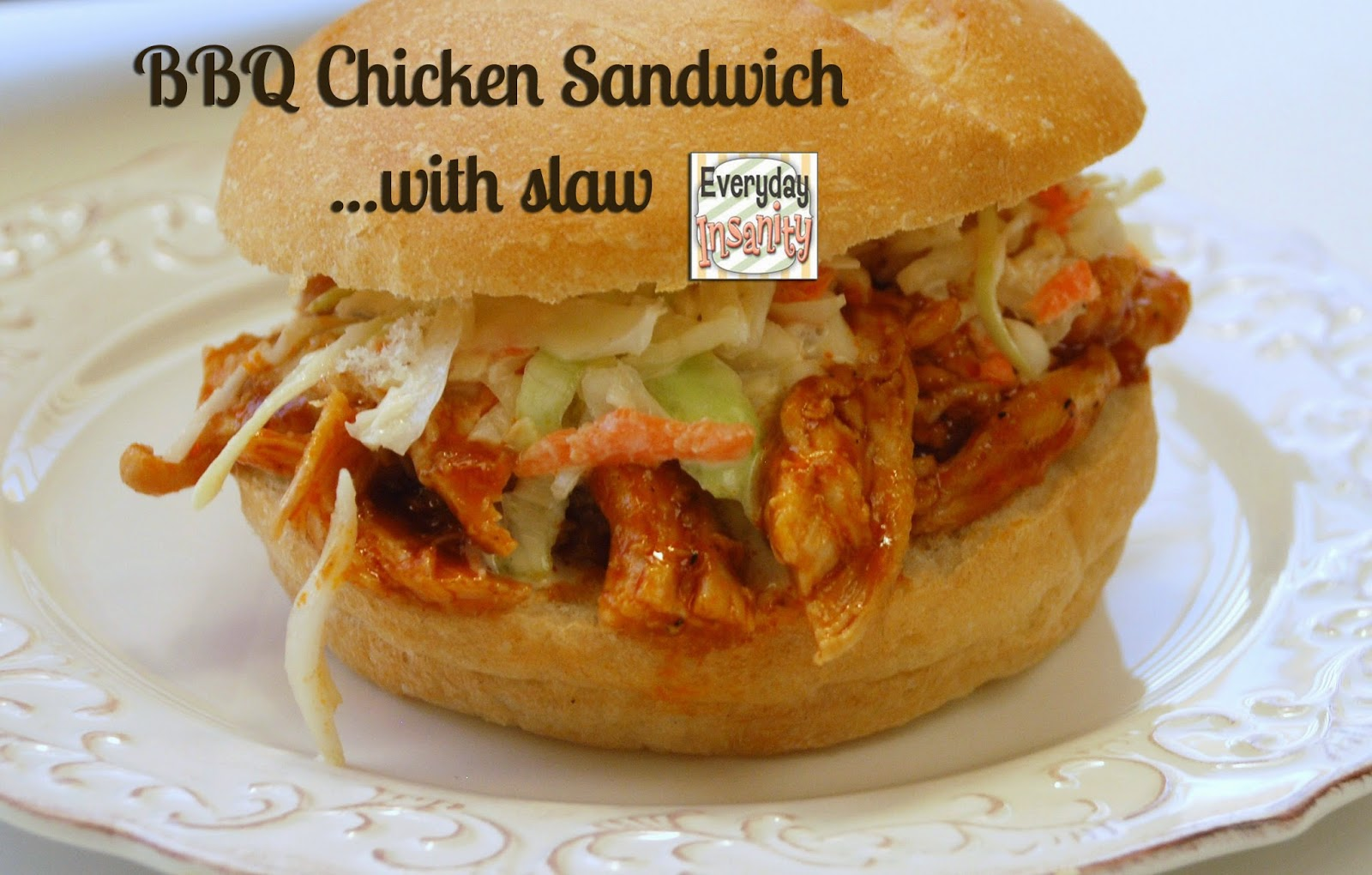 barbecue chicken sandwiches with slaw
