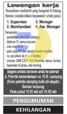 Lowongan Kerja FARMASI di Lampung