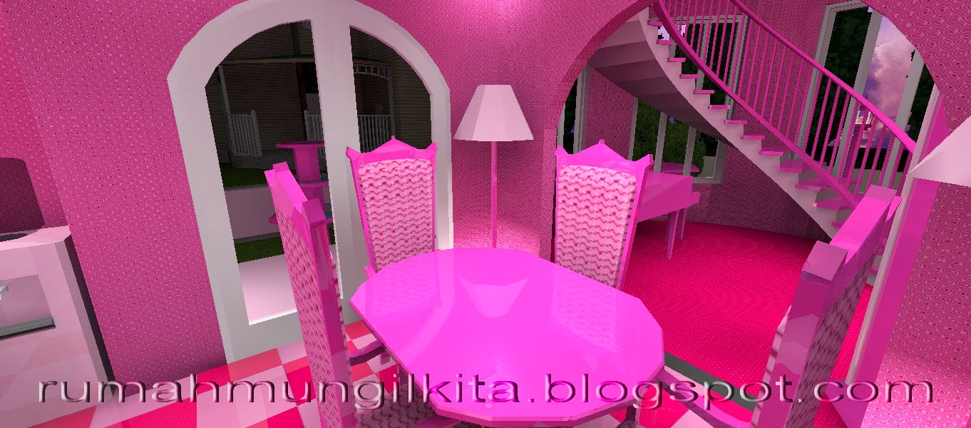 real barbie dream house castle, pink dining room