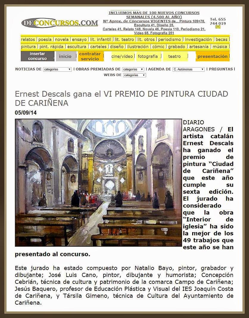 CARIÑENA-PINTURA-ZARAGOZA-ESPAÑA-PREMIOS-CONCURSOS-DE CONCURSOS-PINTOR-ERNEST DESCALS