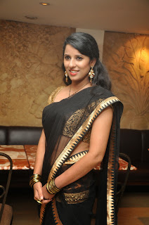 Shravya Reddy in Golden Blouse Choli and Transparent Black Saree Must See Beauty