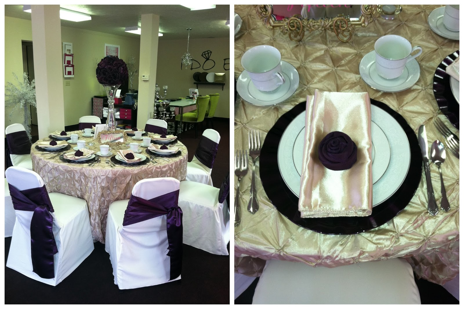incredible Pinchwheel Tablecloth Part - 11: (Champagne Pinchwheel Linens, Ivory Chair Covers w- Plum Satin Wrap Knot,  Plum Ruffle Charger Plates, Plum Poly Tulip Napkins, Elle Vase and Plum  Rose Ball)