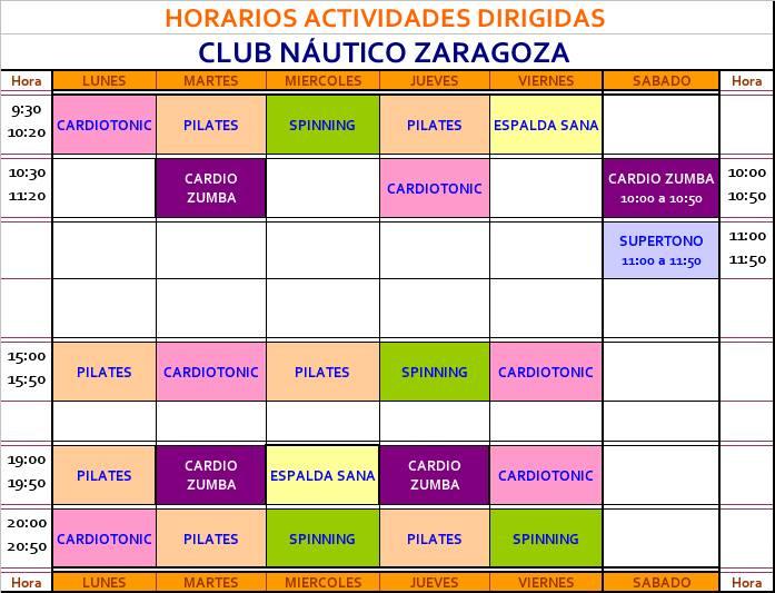 Club n utico zaragoza horario de actividades del gym for Horario bauhaus zaragoza