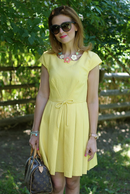 Cesare Paciotti yellow dress, LV Speedy 25, Fashion and Cookies