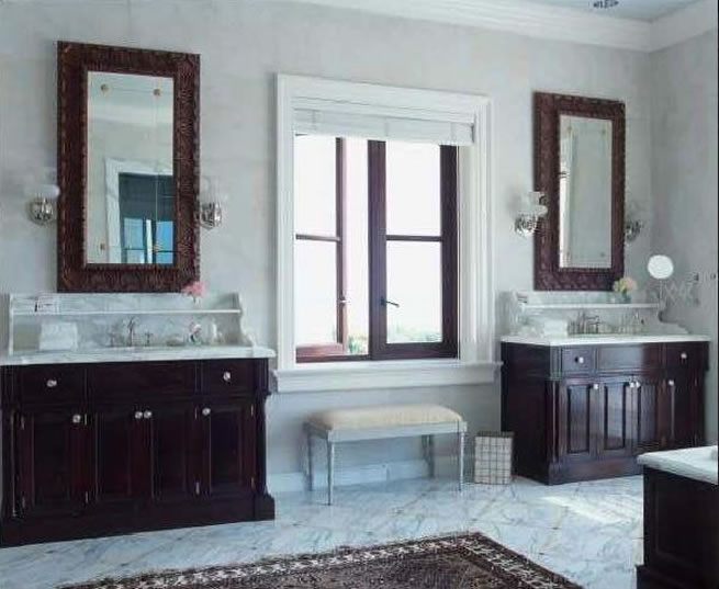 White Bathroom Tile Floor Dark Wood Cabinetry Lighting