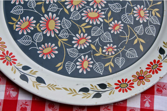 Vintage Metal Tray for Picnic