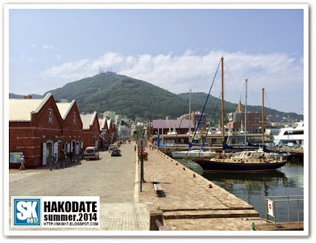 Hakodate Japan - Bay Area ベイエリア, with Mt Hakodate at the background and Hakodate Port on the right