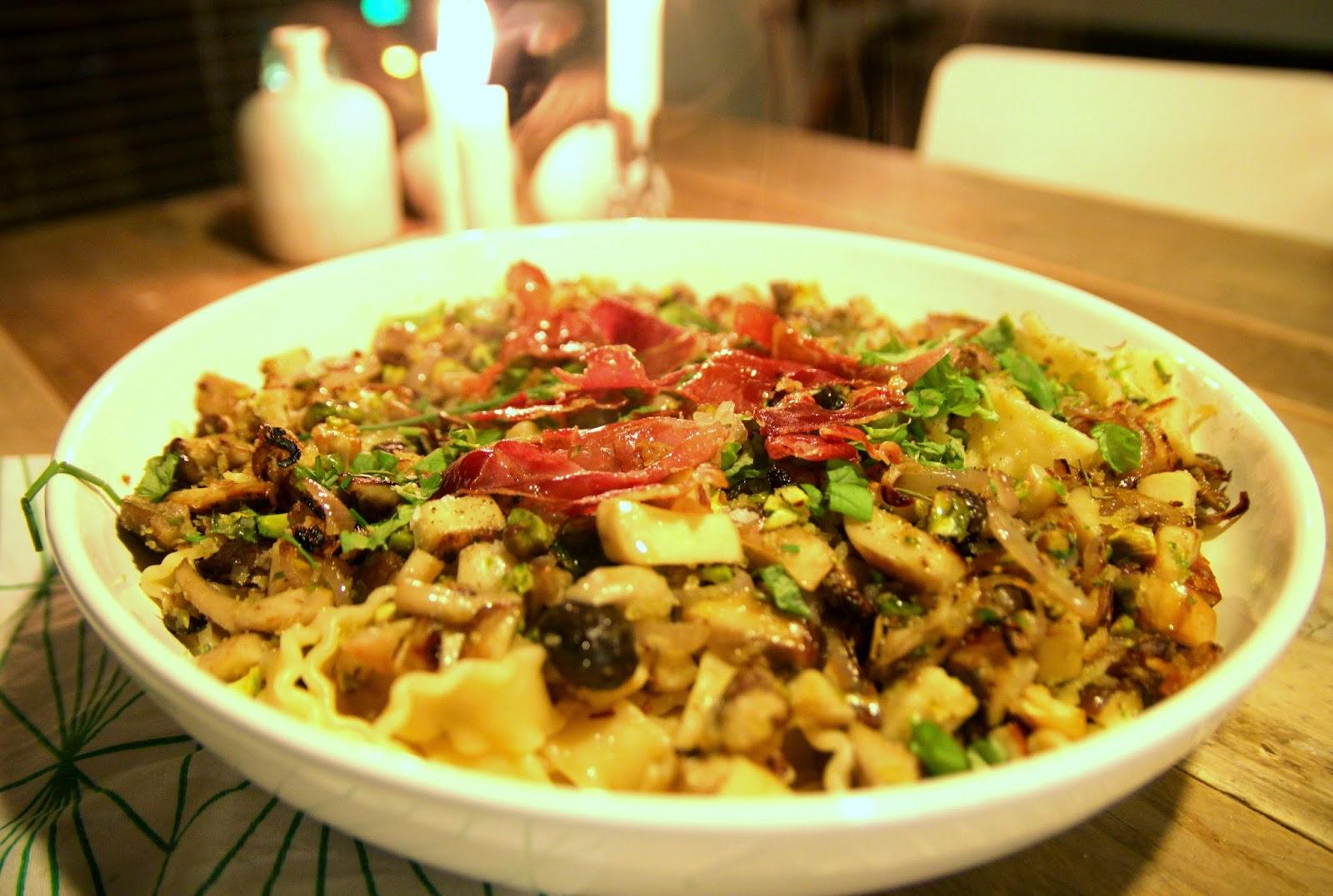 Niente di particolare: food: pasta met paddenstoelen, prosciutto ...