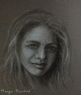 Charcoal and white pastel pencil portrait on Canson paper, By Manju Panchal