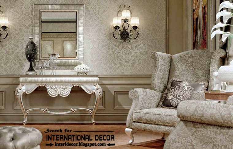 Luxury Classic Interior Design Decor And Furniture, Silver Dressing Table  With Mirror