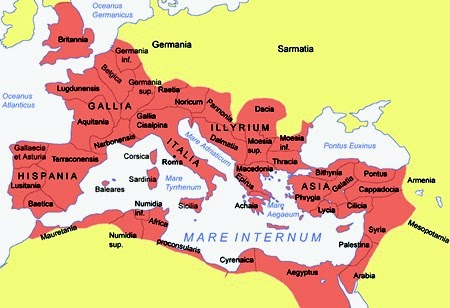 Extension of the Roman Empire in the I century A.D.