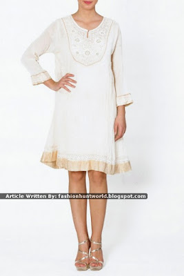 Prink Embellished Short Sleeves Tunic / White Embroidered Tunic
