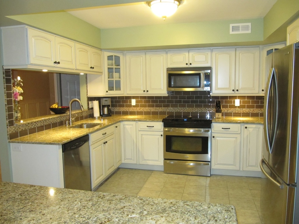 Cream Kitchen Counter Tiles with Designs