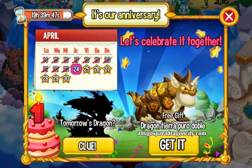 imagen del calendario de aniversario de dragon tierra doble de dragon city ios