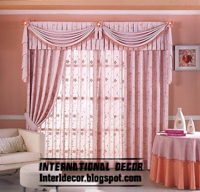 best curtain models 2015, unique draperies model, stylish pink curtain