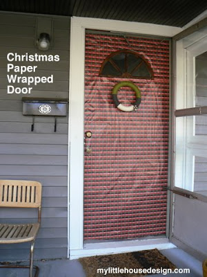 mylittlehousedesign.com Christmas paper wrapped front door