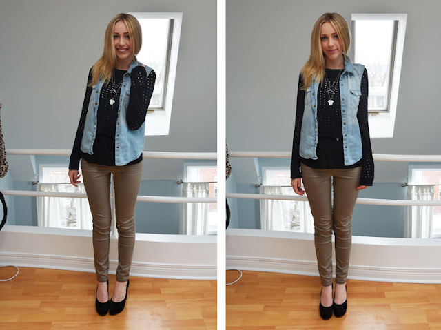 rw&co casual saturday outfit of the day vero moda jeggings nine west suede pumps rock and republic sweater