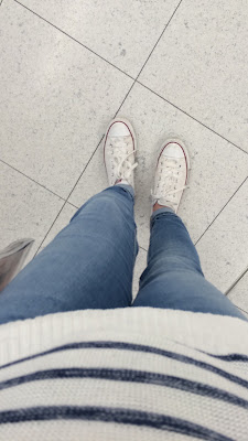 Converse white sneakers, Cotton On 7/8 jeans and striped jumper