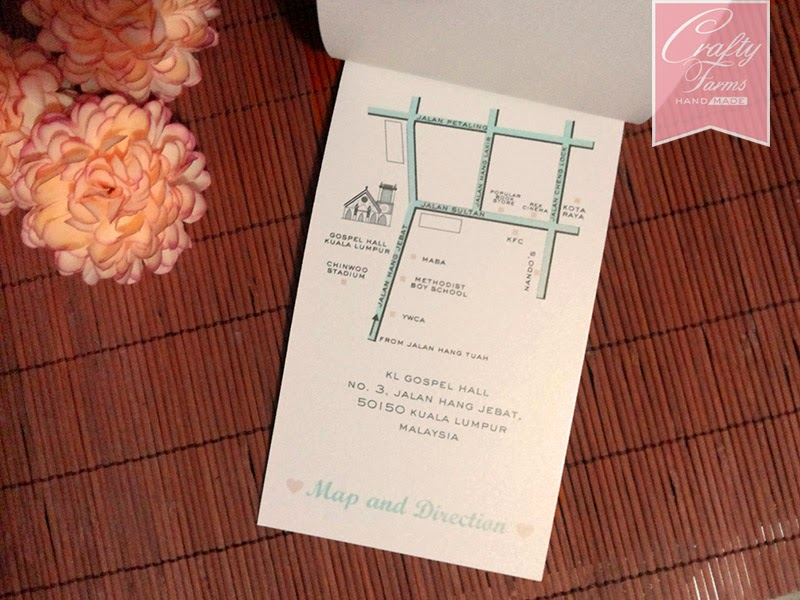Layered Church Wedding Card in Peach and Mint Themed