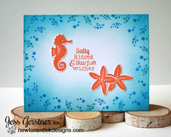 Seashorse & Starfish Fish card by Jess Gerstner | Tranquil Tides stamp set & Die set by Newton's Nook Designs #sea #fish #underthesea