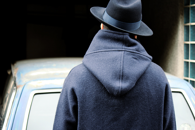 hackneyunionworkhouseハックニーユニオンワークハウスfishermanshortcoat 14fw madeinengland outfit greenangle