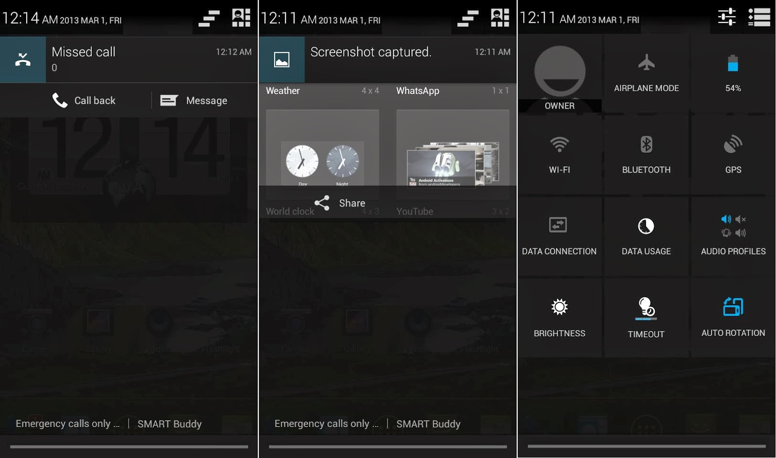 DTC Mobile GT15 Astroid Fiesta Notification Area & Quick Toggle Settings