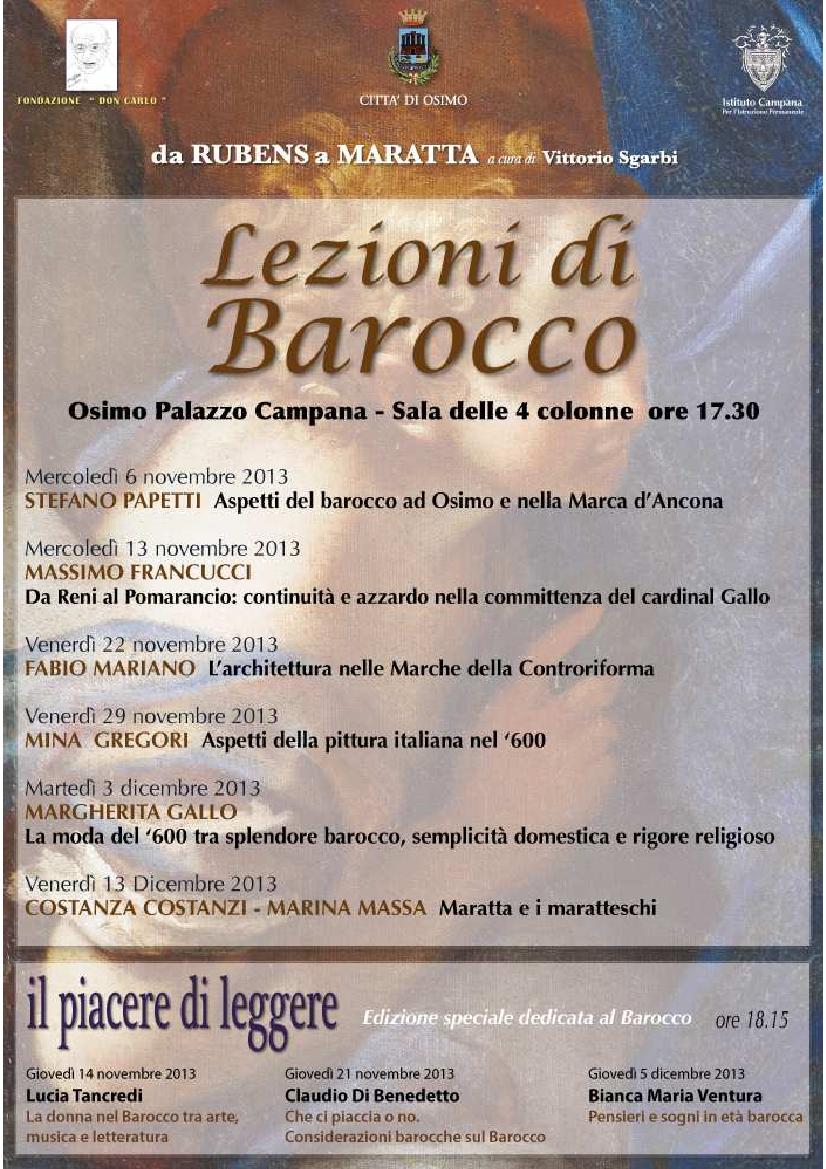 Osimo:Lezione di Baracco. Il Programma