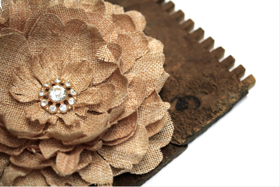 Burlap Hair Clip Flower #hair #vintage #burlap