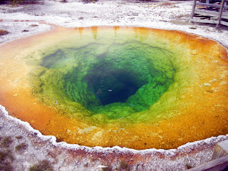 Morning Glory Pool on Geyser Hill in Yellowstone National Park in Wyoming