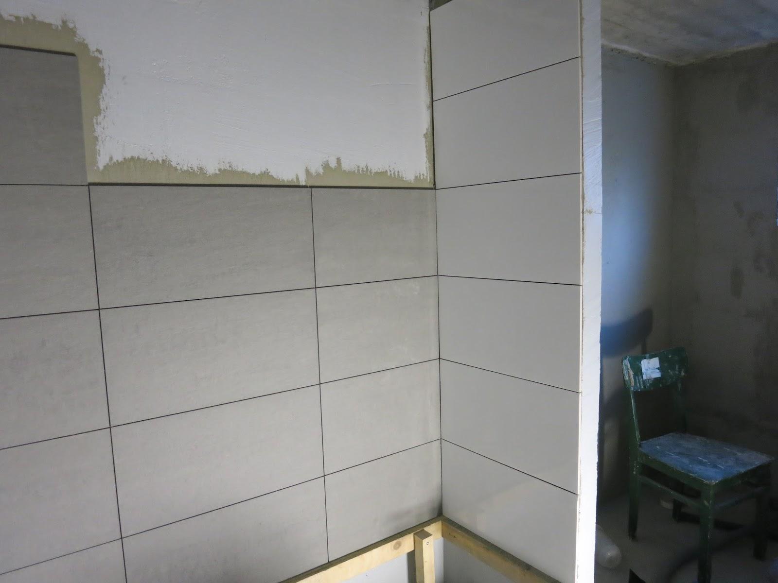 Söta drömmar: badrum och bastu: kakling påbörjat