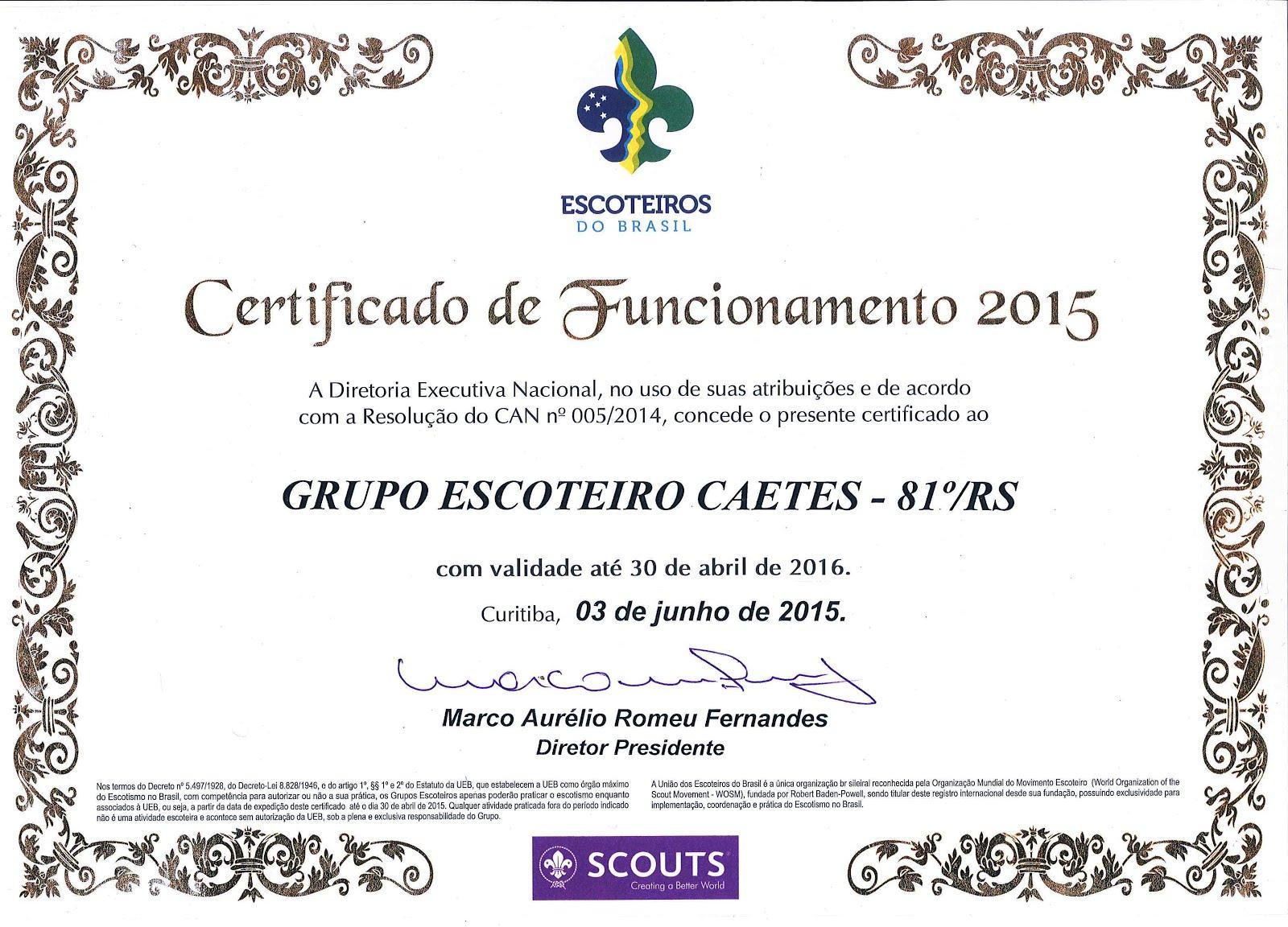 Certificado de Funcionamento