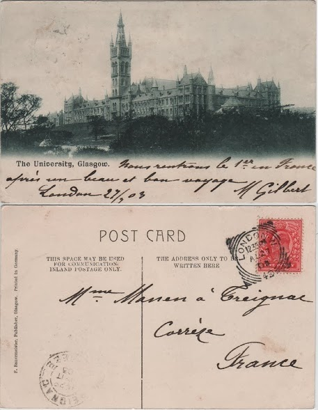 Vintage postcard of the University, Glasgow, c.1903