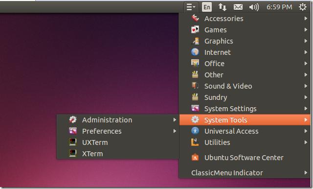 Ubuntu 14.04 classic menu k4linux