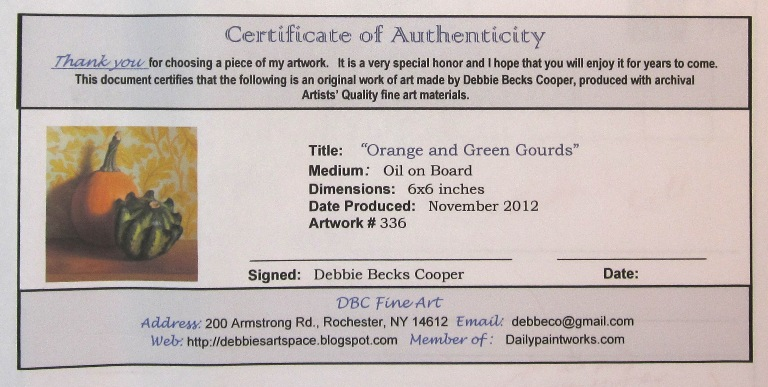 Debbie 39 s art space about c o a for Certificate of authenticity photography template