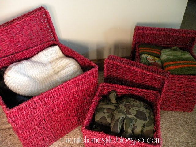 Red Stacking Baskets to store hats and gloves