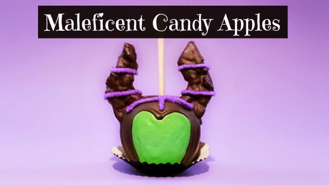 how to make halloween special maleficent candy apples via geniusknight.blogspot.com holiday knight with disney characters and treats