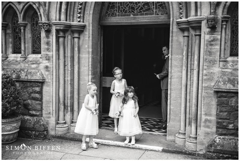 Flower girls waiting for the bride at Taunton School