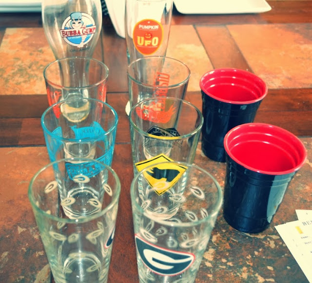 variety of empty beer glasses