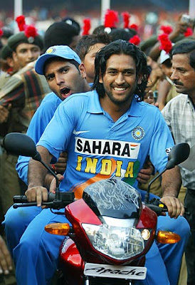 Dhoni with Yuvraj enjoying a ride