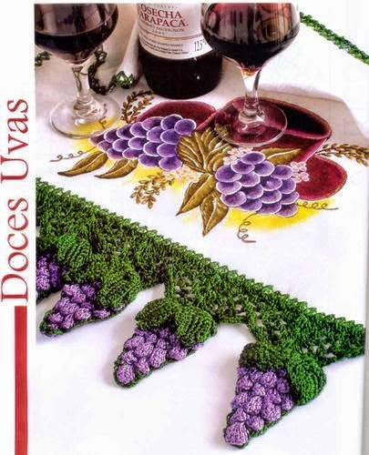 Racimos de uva al crochet en esta guarda tejida