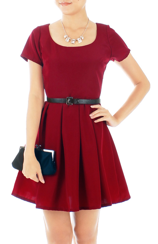 Ruby Red Skater Dress with Sleeves