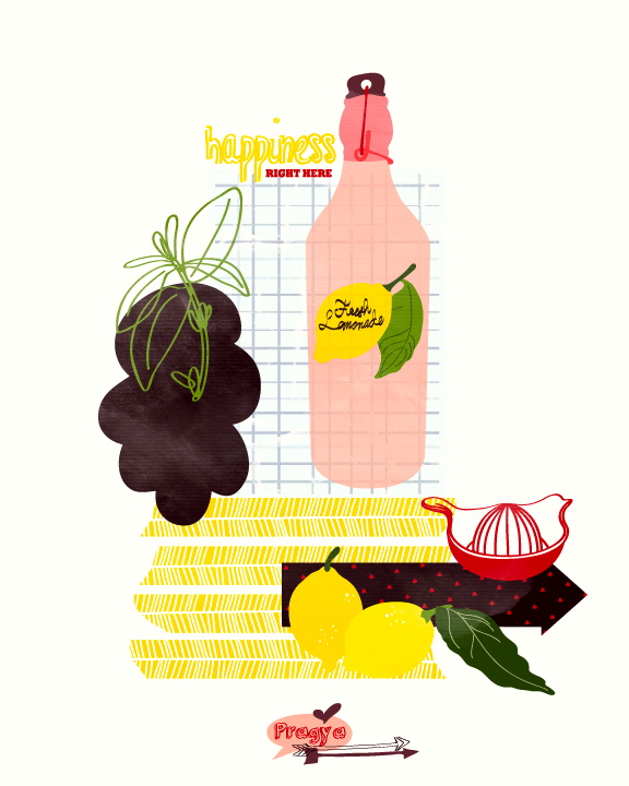 Lemonade Kitchen art print - Fresh Lemonade - Digital illustration, kitchen decor, Food Art Print, Summer, Home Decor, housewarming gift,