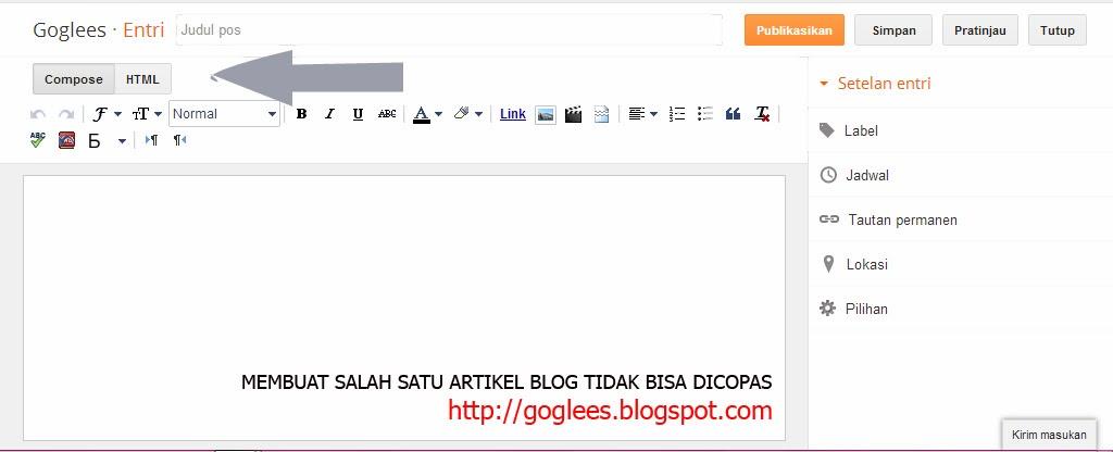 MEMBUAT SALAH SATU ARTIKEL BLOG TIDAK BISA DICOPAS