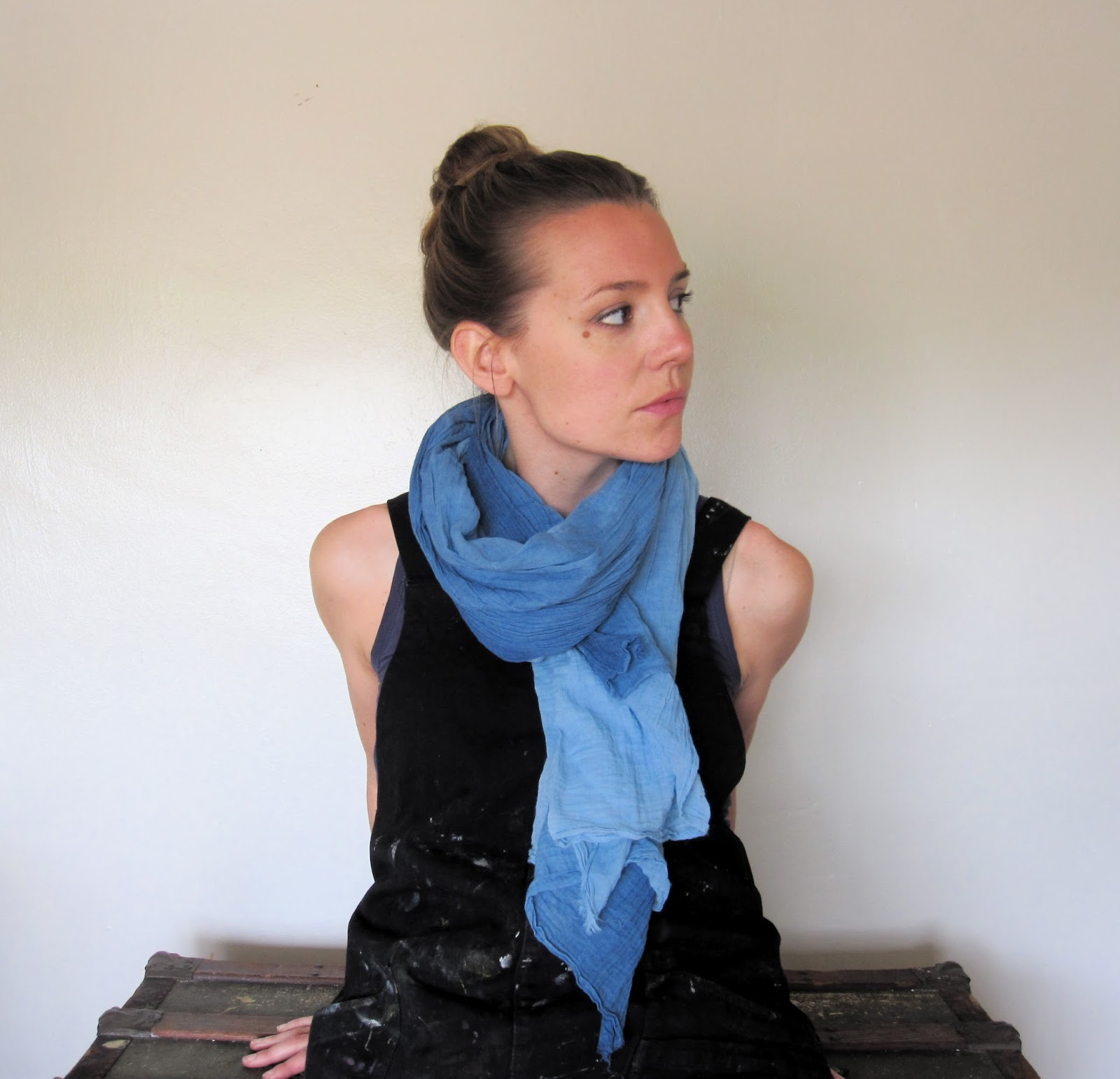 natural dye indigo scarf