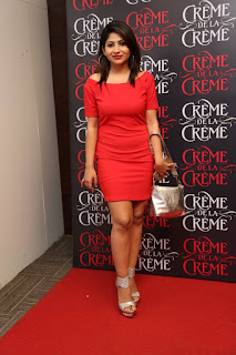 Madhulagna Das Pictures in Red Short Dress at Creme De La Creme 1st Anniversary