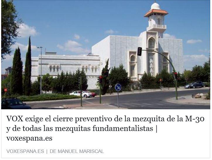 VOX exige el cierre preventivo de la mezquita de la M-30 y de todas las mezquitas fundamentalistas
