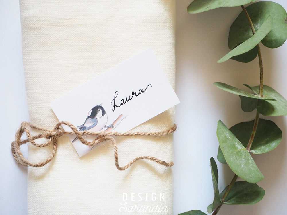 Place card printable Little birds