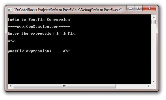 how to create a posfix expression from an infix expression