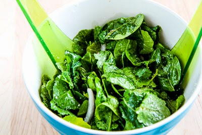 Spinach and Kale Salad with Greek Flavors and Feta-Lemon Vinaigrette ...